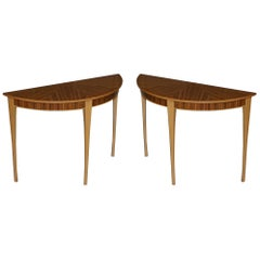 X2 Lovely Brand New Bevan Funnell Phoenix Zebrano Wood Demilune Console Tables