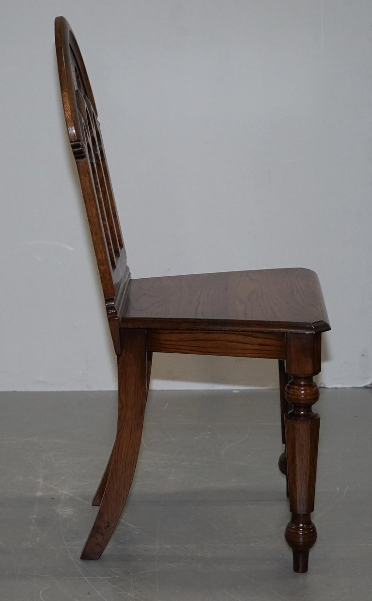 4 English Oak Gothic Steeple Back Dining Chairs Augustus Pugin Style Carving For Sale 5