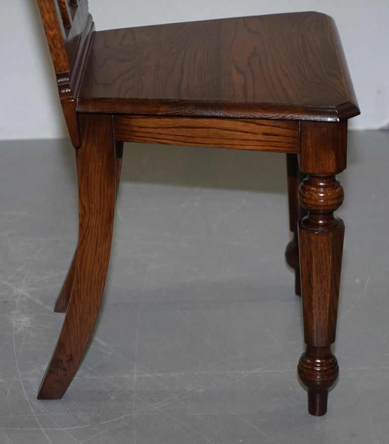 4 English Oak Gothic Steeple Back Dining Chairs Augustus Pugin Style Carving For Sale 6
