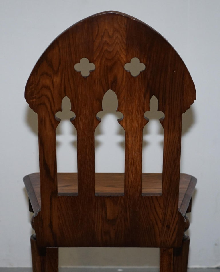 4 English Oak Gothic Steeple Back Dining Chairs Augustus Pugin Style Carving For Sale 8