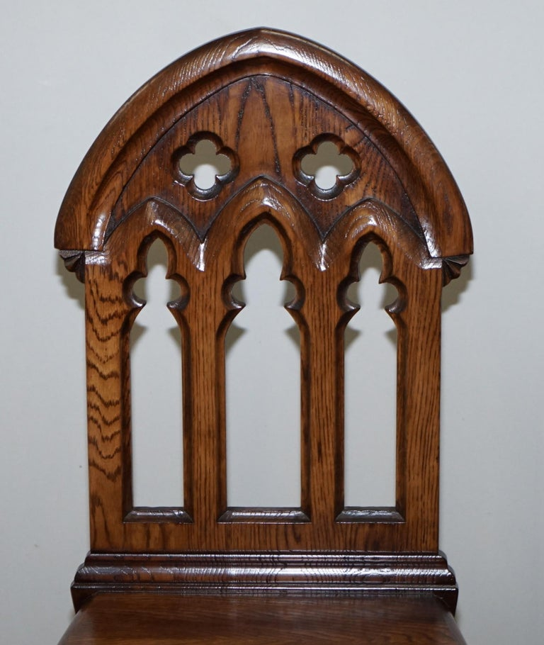 4 English Oak Gothic Steeple Back Dining Chairs Augustus Pugin Style Carving For Sale 10