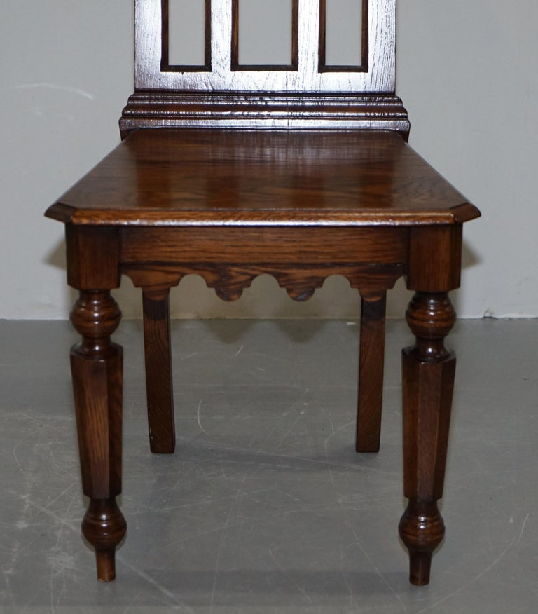 4 English Oak Gothic Steeple Back Dining Chairs Augustus Pugin Style Carving For Sale 12
