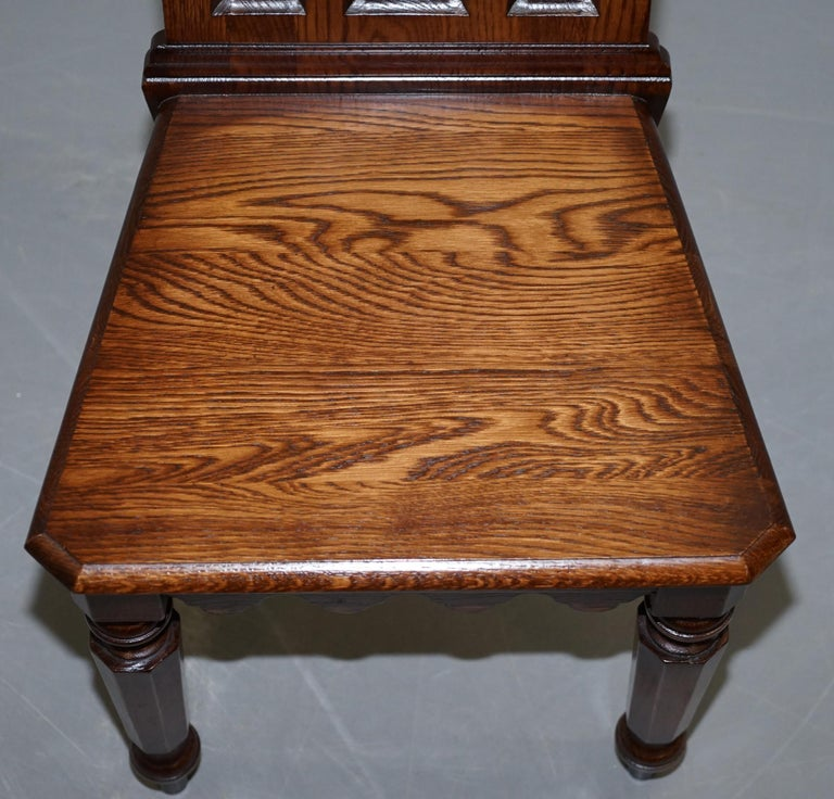 4 English Oak Gothic Steeple Back Dining Chairs Augustus Pugin Style Carving For Sale 15