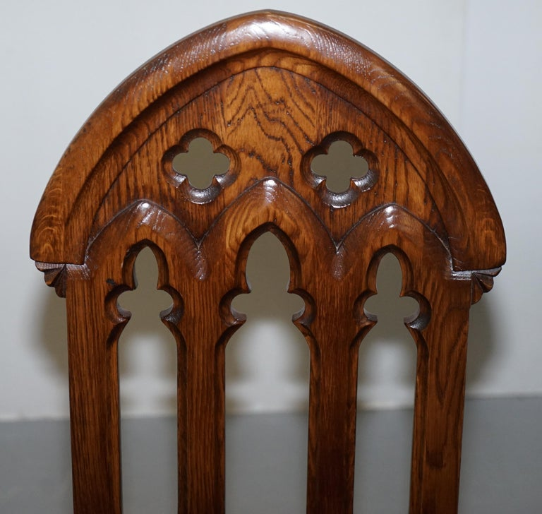 20th Century 4 English Oak Gothic Steeple Back Dining Chairs Augustus Pugin Style Carving For Sale