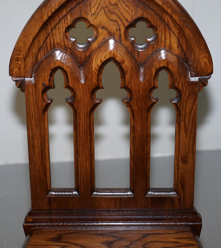4 English Oak Gothic Steeple Back Dining Chairs Augustus Pugin Style Carving For Sale 1