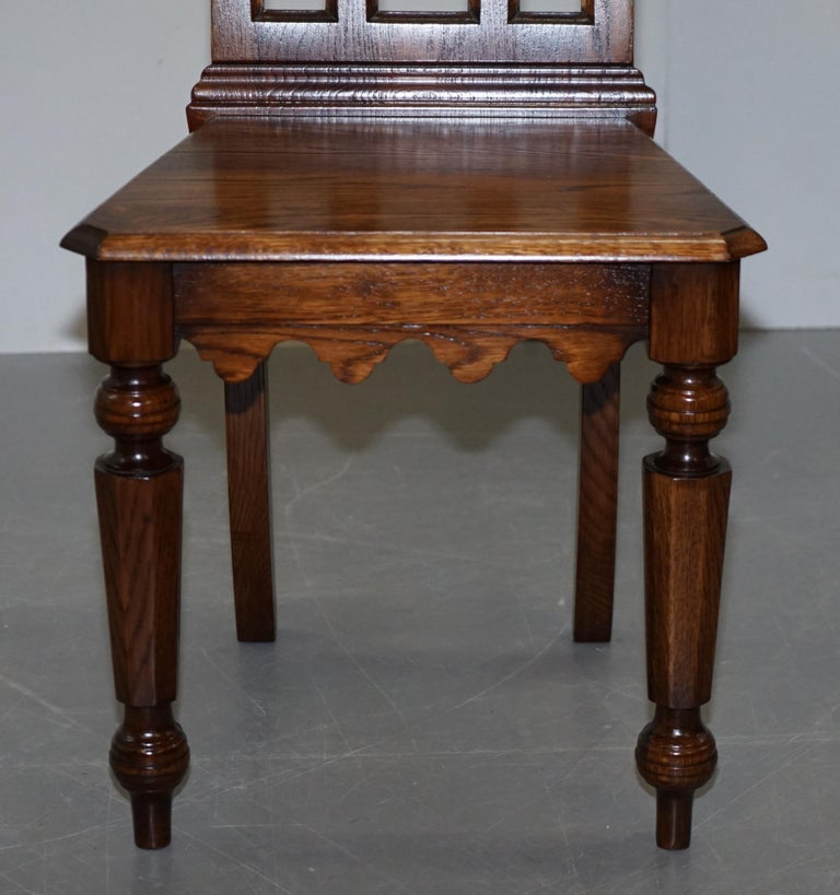 4 English Oak Gothic Steeple Back Dining Chairs Augustus Pugin Style Carving For Sale 3