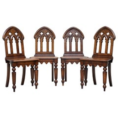 4 English Oak Gothic Steeple Back Dining Chairs Augustus Pugin Style Carving