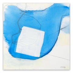 Blue white line (Abstract painting)