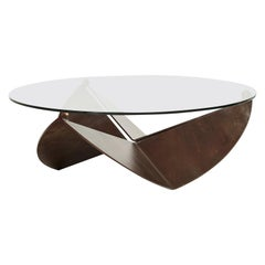 Xandre Kriel, Tulp, Glass and Waxed Steel Coffee Table
