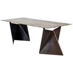 "Xandre Kriel, ""Vos Altar"", Bronze Top and Steel Base Table"