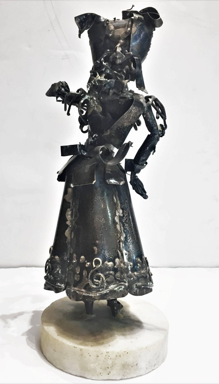 American Xavier Gonzalez, Spanish Maiden, Anodized Silver Statuette, 1970s For Sale