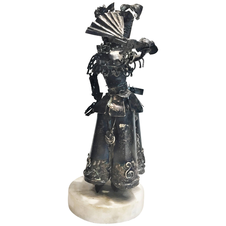 Xavier Gonzalez, Spanish Maiden, Anodized Silver Statuette, 1970s