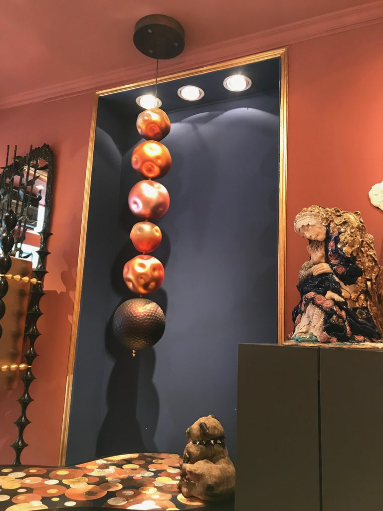 Xavier Le Normand 2018, Unique Chandellier Red, Blow Engraved Glass For Sale 6