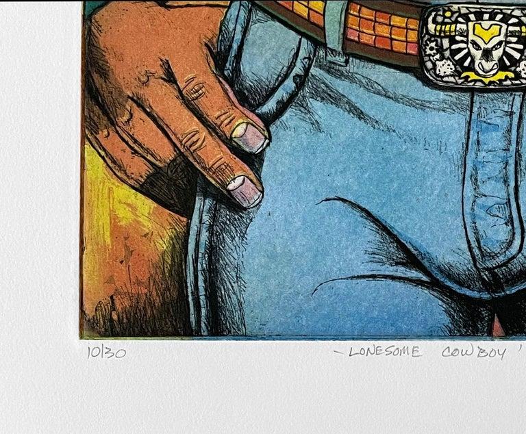 Lonesome Cowboy - Black Portrait Print by Xavier Viramontes