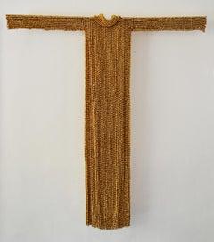 """Vestido de Oro I (Gold Dress I)"" terracotta gold glaze dress form sculpture"