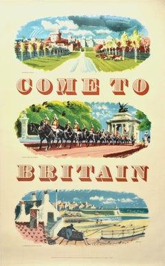 Original Vintage Travel Poster Come To Britain Windsor Castle London Cornwall
