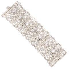 xFabulous Wide Art Deco Style Faux Diamond Pearl Sterling Bracelet