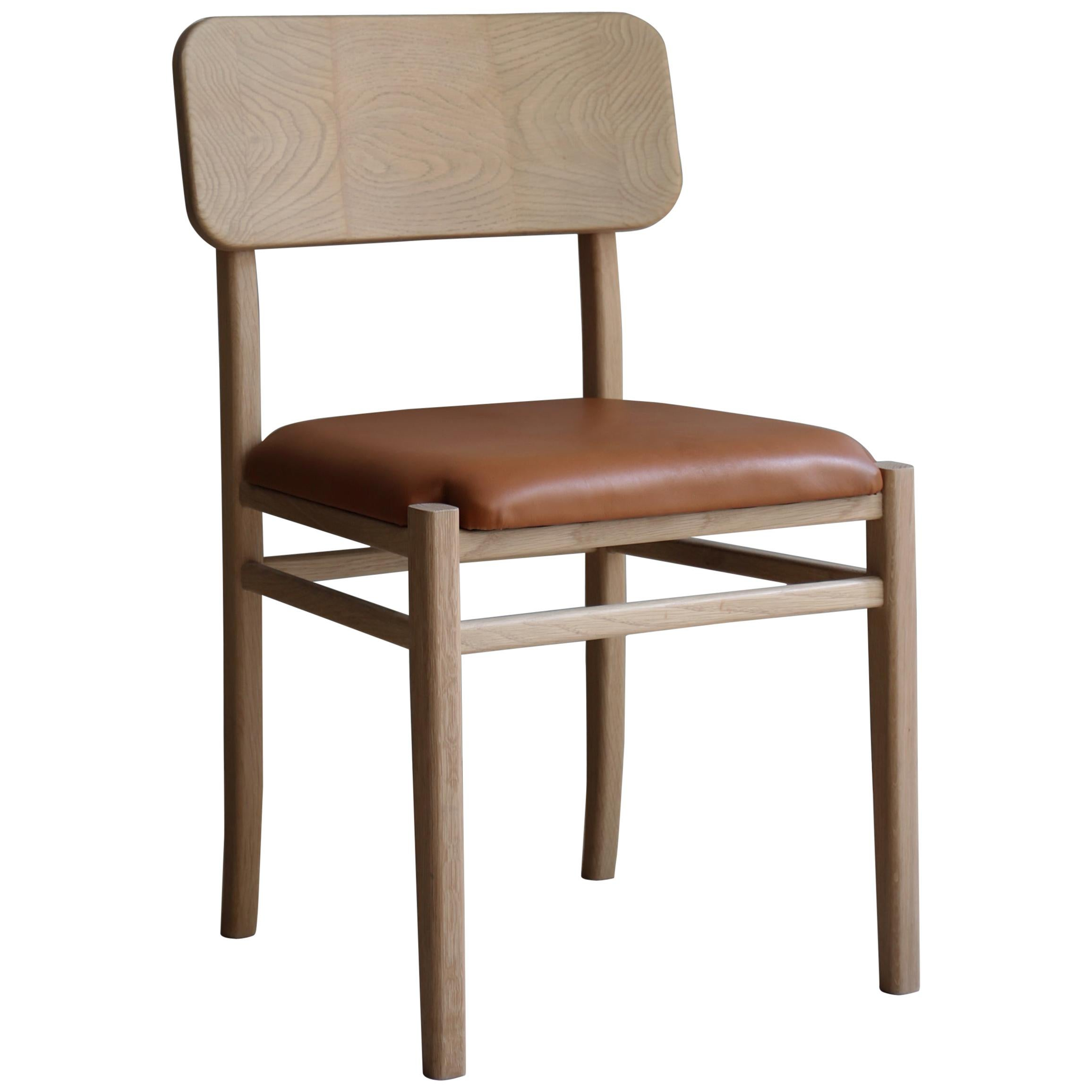 XI, White Oak Chair with Leather Seat from Collection Noviembre by Joel Escalona