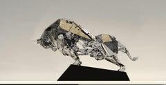 """The Conqueror"", Life Sized Mechanical Bull Run Modern Pop Art, Animal Figurine"