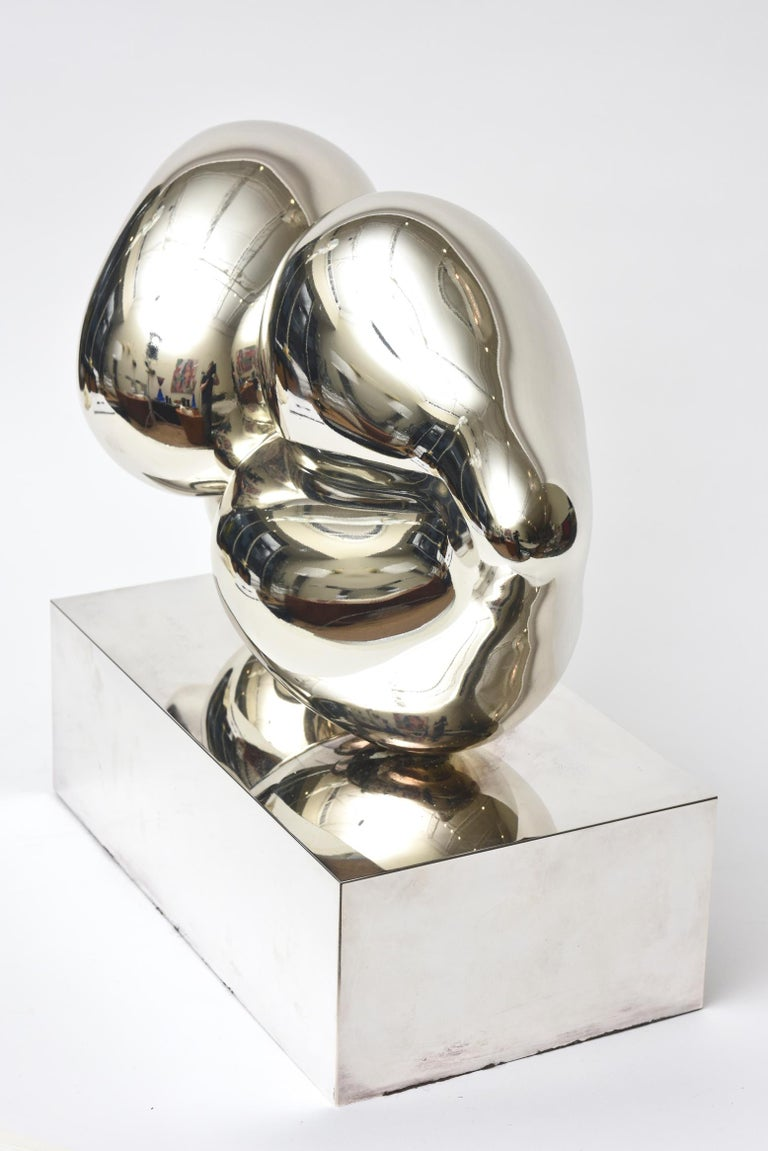 Modern Xiao Hui Wang for Christofle Love Lip Silvered Bronze Sculpture Limited Edition For Sale