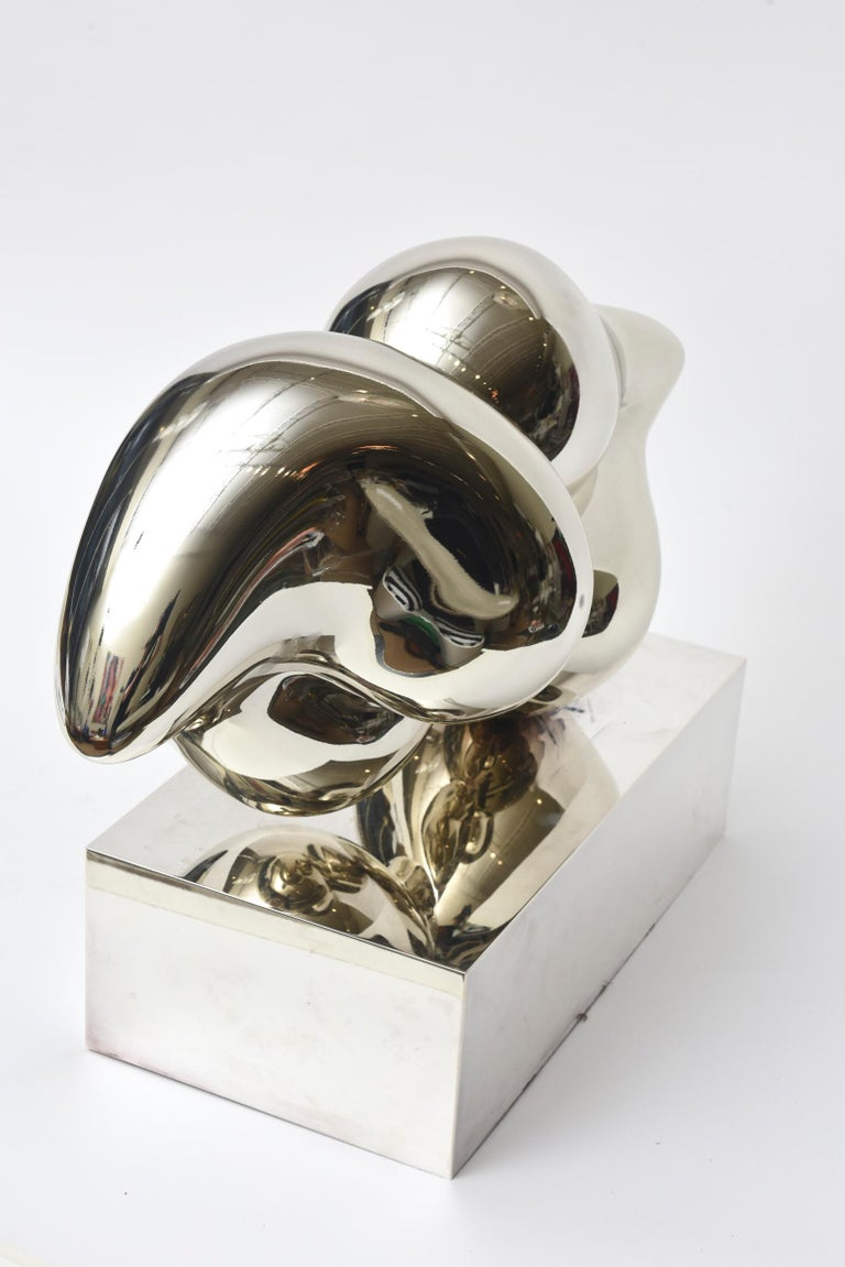 Xiao Hui Wang for Christofle Love Lip Silvered Bronze Sculpture Limited Edition In Good Condition For Sale In North Miami, FL