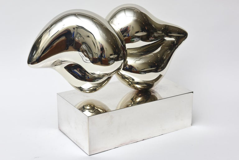 Contemporary Xiao Hui Wang for Christofle Love Lip Silvered Bronze Sculpture Limited Edition For Sale