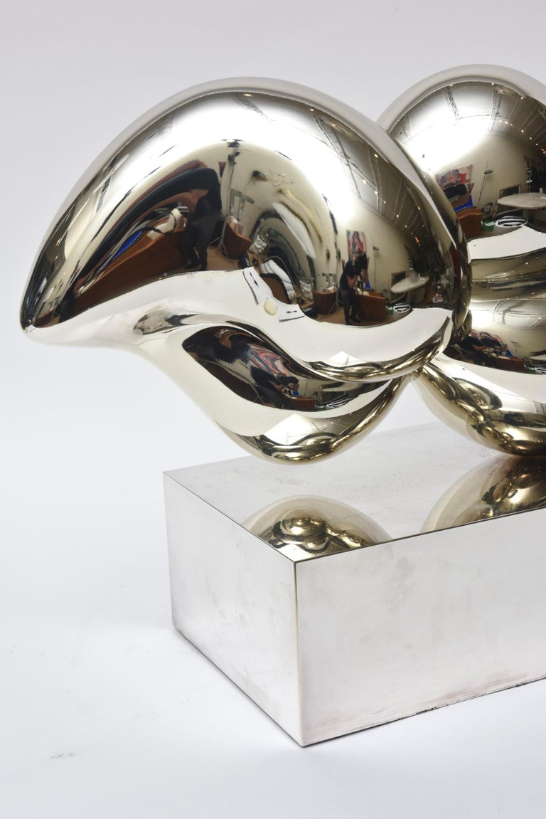 Xiao Hui Wang for Christofle Love Lip Silvered Bronze Sculpture Limited Edition For Sale 2