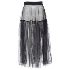 XIAO LI SS18 black polyamide sheer tulle flared midi skirt S