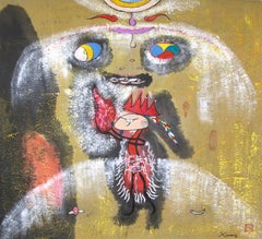 """""""Meditation Song 3,"""" Symbolic Mixed Media on Paper signed by Xiao Ming"""