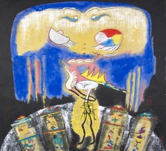 """""""Mum, Sky Mask,"""" Symbolic Mixed Media signed with stamp by Xiao Ming"""