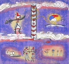 """""""The East Light 2,"""" Symbolic Mixed Media on Paper signed by Xiao Ming"""