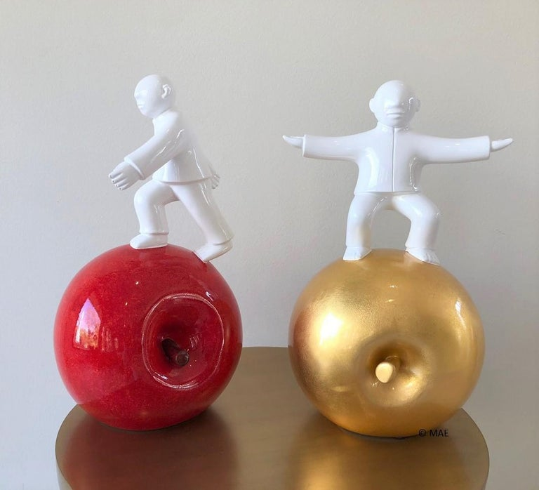 Sculpture by noted Chinese artist Xie Ai Ge - Golden Apple series  For Sale 3