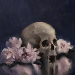"""""""Skull and Peonies,"""" Oil Painting"""