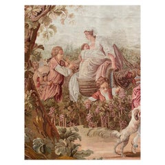 """XIXth Century Ancient Tapestry """"Harvest scene"""", wool, Aubusson France"""