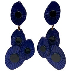 XL Contemporary Black/Blue Abstract Statement Earrings