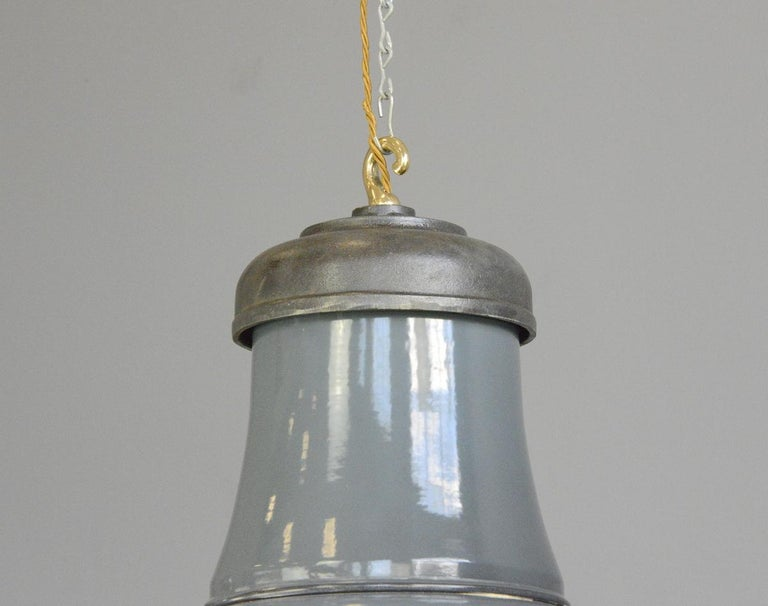 Enamel Extra Large Factory Lights by Schaco, circa 1930s