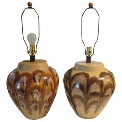 XL Fat Drip Glaze Brown Abstract Design Pottery Lamps Mid-Century Modern, Pair
