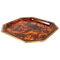 XL Faux Tortoise Lucite Tray with Brass Edges in Manner of Maison Jansen
