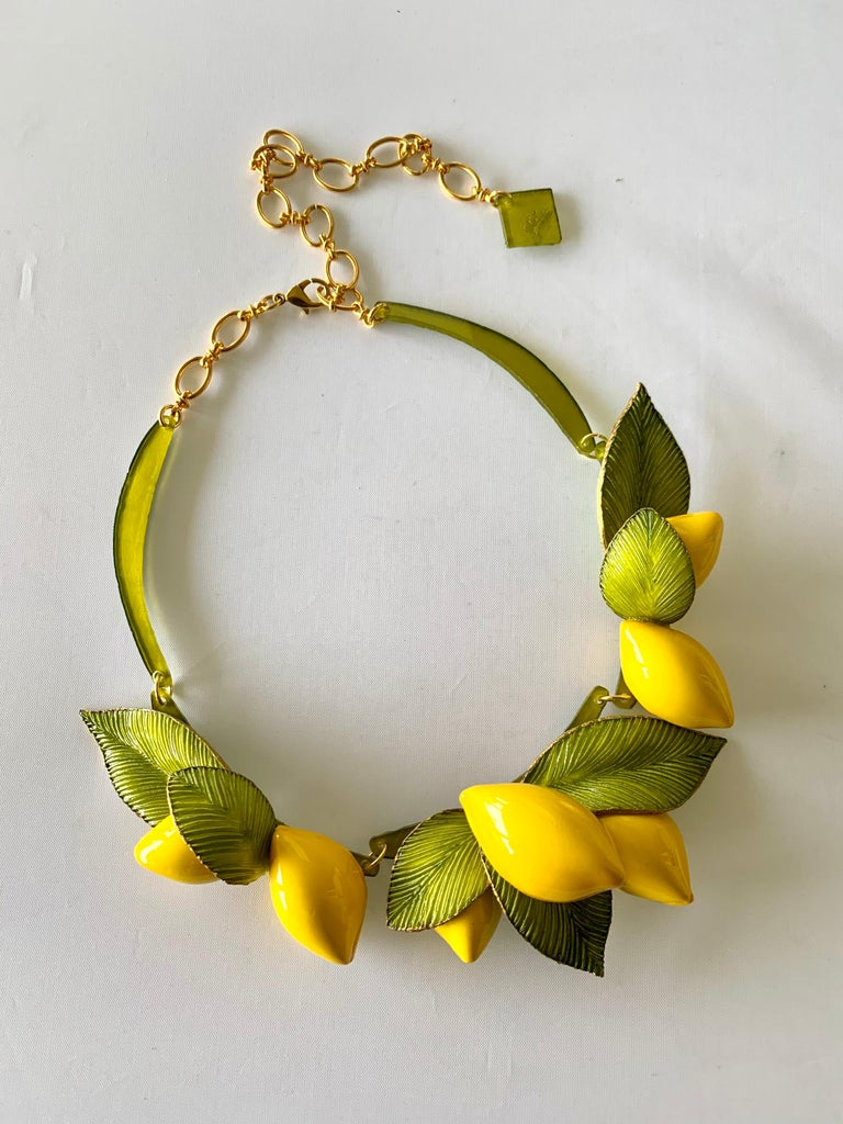 Women's XL French Lemon Statement Necklace