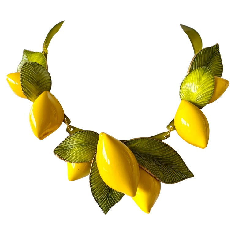 """XL French Lemon Statement Necklace """"Collier"""" For Sale"""