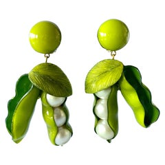XL French Peapod Statement Earrings