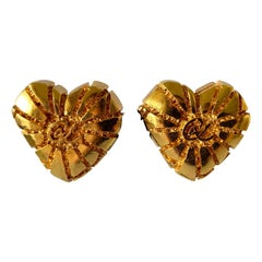XL Gold Heart Christian Lacroix Earrings