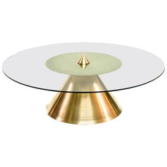 XL Halo Coffee Table w/ Polished Spun Bronze Base and Tempered Glass Top