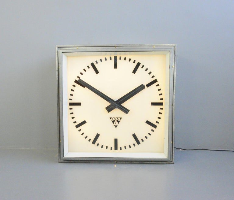 Industrial XL Light Up Station Clock by Pragotron, Circa 1950s For Sale