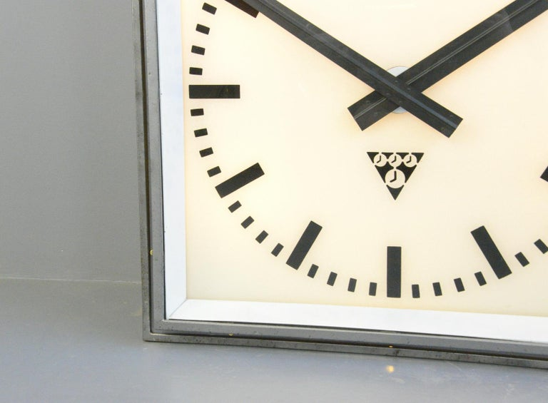 Czech XL Light Up Station Clock by Pragotron, Circa 1950s For Sale