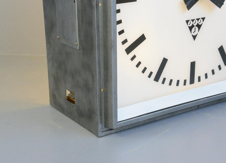 XL Light Up Station Clock by Pragotron, Circa 1950s For Sale 2