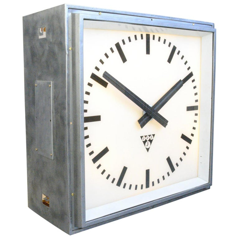 XL Light Up Station Clock by Pragotron, Circa 1950s For Sale