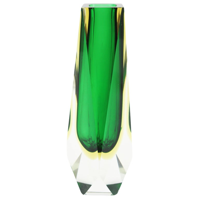 20th Century Extra Large Mandruzzato Murano Sommerso Green Black Yellow Faceted Glass Vase For Sale