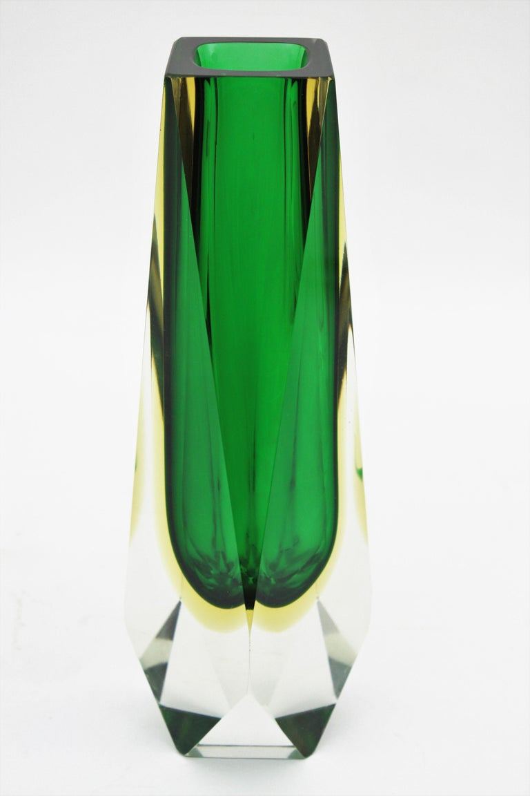 Blown Glass Extra Large Mandruzzato Murano Sommerso Green Black Yellow Faceted Glass Vase For Sale