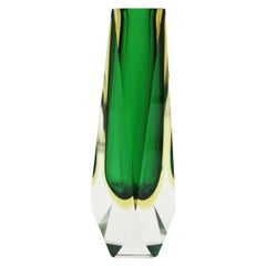 Extra Large Mandruzzato Murano Sommerso Green Black Yellow Faceted Glass Vase